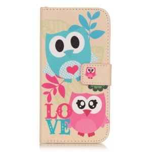 Wallet Leather Cover Case for Samsung Galaxy J3 / J3 (2016) - Adorable Owl and LOVE Pattern
