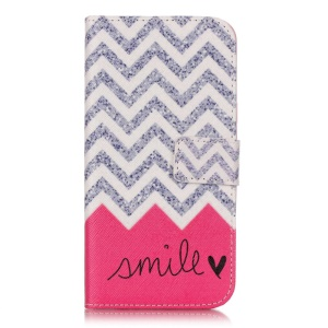 Wallet Leather Protective Case for Samsung Galaxy J3 / J3 (2016) - Chevron and Smile Pattern