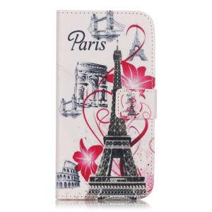 Leather Wallet Case for Samsung Galaxy J3 / J3 (2016) - Eiffel Tower and Flowers
