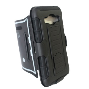 Shock-proof ArmBand Case Hybrid PC + Silicone Cover with Kickstand for Samsung Galaxy Core Prime SM-G360