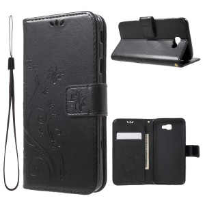 Butterfly Flowers Leather Wallet Case for Samsung Galaxy On5 2016/J5 Prime - Black