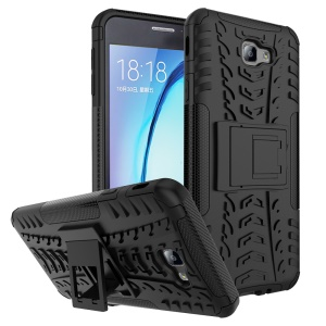 Tyre Cool Guard PC + TPU Kickstand Case for Samsung Galaxy On7 2016/J7 Prime - Black