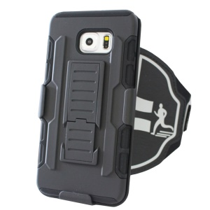Shockproof PC + Silicone Armband Case with Kickstand for Samsung Galaxy S6 edge+ G928