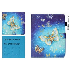 Pattern Printing Wallet Leather Stand Case for Samsung Galaxy Tab A 7.0 T280 T285 - Gold Butterflies
