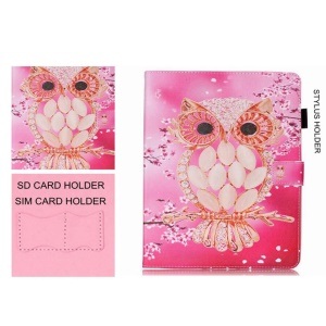 Smart Leather Wallet Case for Samsung Galaxy Tab E 8.0 T375 T377 - Diamante Owl Pattern