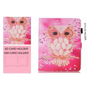 Patterned Wallet Smart Leather Case for Samsung Galaxy Tab S2 8.0 T710 T715 - Pretty Owl