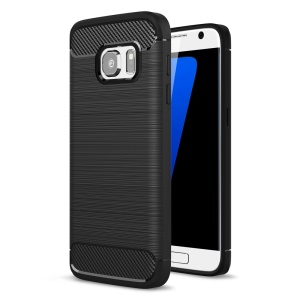 Carbon Fibre Brushed TPU Case for Samsung Galaxy S7 SM-G930 - Black