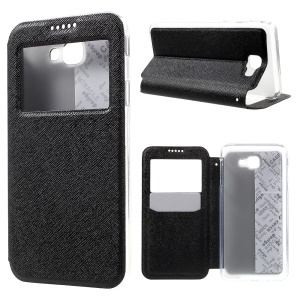 Cross Texture View Window Leather Case for Samsung Galaxy On5 2016/J5 Prime - Black