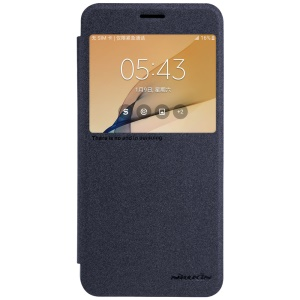 NILLKIN Sparkle View Window Leather Case for Samsung Galaxy J7 Prime / On7 (2016) - Black
