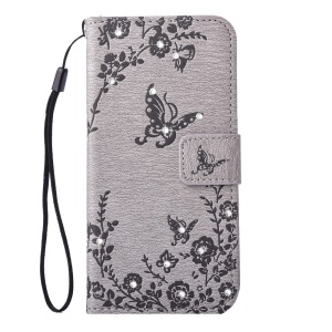 Imprinted Butterfly Flowers Rhinestone Leather Wallet Case for Samsung Galaxy S6 edge SM-G925 - Grey