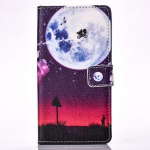 Leather Stand Cover with Card Slots for Samsung Galaxy A3 SM-A310F (2016) - Round Moon