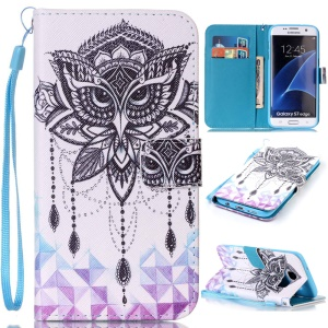 Wallet Leather Stand Case for Samsung Galaxy S7 edge SM-G935 - Owl Pattern