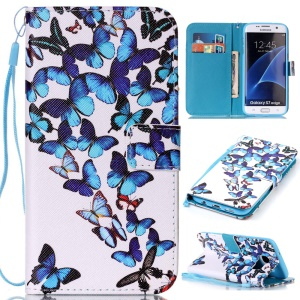 Wallet Leather Magnetic Case for Samsung Galaxy S7 edge SM-G935 - Blue Butterflies
