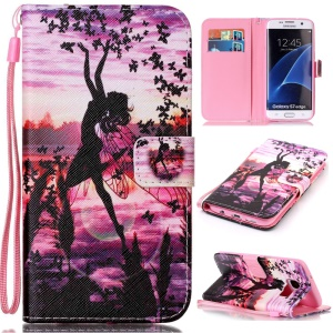 Wallet Leather Phone Case for Samsung Galaxy S7 edge SM-G935 - Dancing Girl