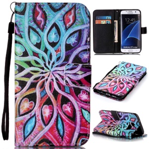 PU Leather Stand Case for Samsung Galaxy S7 edge SM-G935 - Colorized Pattern