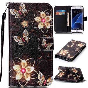 Wallet Leather Cover with Stand for Samsung Galaxy S7 edge SM-G935 - Flowers and Butterflies