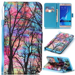 Patterned Leather Wallet Stand Phone Case for Samsung Galaxy J5 (2016) SM-J510 - Trees
