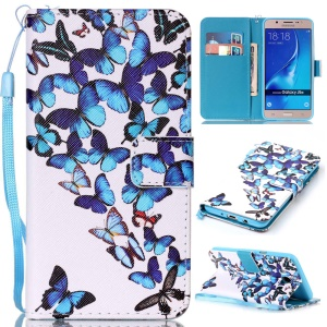 Patterned Leather Wallet Case with Hand Strap for Samsung Galaxy J5 (2016) SM-J510 - Blue Butterflies