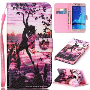 Patterned Leather Card  Slot Cover with Lanyard for Samsung J5 (2016) SM-J510 - Fairy and Butterlies