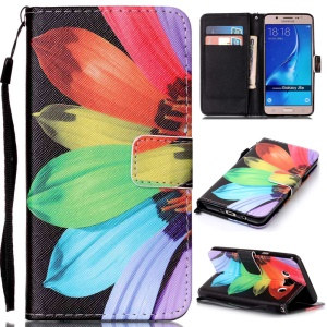 Patterned Leather Wallet Cover with Lanyard for Samsung Galaxy J5 (2016) SM-J510 - Colorful Daisy