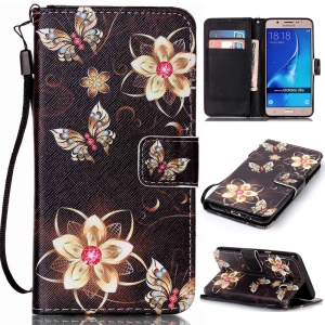 Patterned Leather Wallet Shell for Samsung J5 (2016) SM-J510 - Gold Flowers and Butterflies