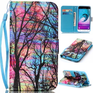 Pattern Printing Leather Wallet Case for Samsung Galaxy J3 (2016) / J3 - Tree