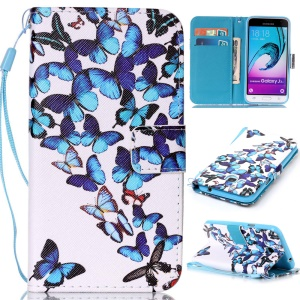 Pattern Printing Leather Wallet Cover for Samsung Galaxy J3 (2016) / J3 - Butterflies