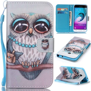 Pattern Printing Leather Wallet Shell for Samsung Galaxy J3 (2016) / J3 - Lovely Owl