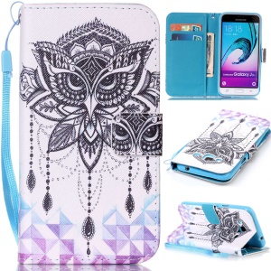 Pattern Printing Leather Wallet Phone Case for Samsung Galaxy J3 (2016) / J3 - Face Mask