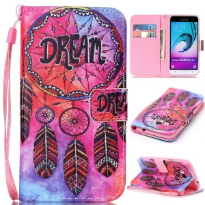 Pattern Printing Leather Wallet Phone Cover for Samsung Galaxy J3 (2016) / J3 - Dream Catcher