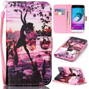 Pattern Printing Leather Wallet Phone Shell for Samsung Galaxy J3 (2016) / J3 - Girl Dancing