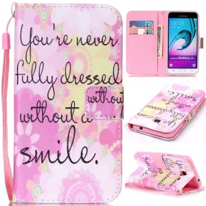 Pattern Printing Leather Wallet Phone Flip Case for Samsung Galaxy J3 (2016) / J3 - Flower and Words