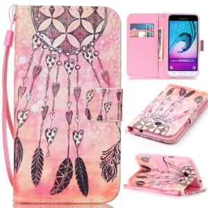 Pattern Printing Leather Wallet Stand Cover for Samsung Galaxy J3 (2016) / J3 - Pretty Dream Catcher