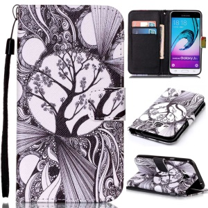 Pattern Printing Leather Wallet Stand Case for Samsung Galaxy J3 (2016) / J3 - Abstract Tree Pattern