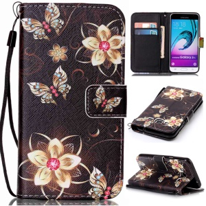 Pattern Printing Leather Wallet Stand Shell for Samsung Galaxy J3 (2016) / J3 - Flowers and Butterflies
