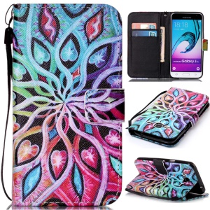 Pattern Printing Leather Card Holder Case for Samsung Galaxy J3 (2016) / J3 - Hearts and Vines