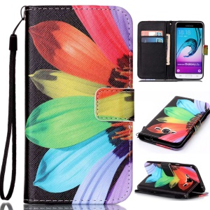 Pattern Printing Leather Card Holder Cover for Samsung Galaxy J3 (2016) / J3 - Colorful Flower