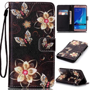 Patterned Leather Wallet Protector Cover with Lanyard for Samsung Galaxy J7 (2016) SM-J710 - Dazzling Flowers and Butterflies