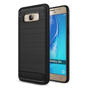 Carbon Fibre Brushed TPU Case for Samsung Galaxy J5 (2016) SM-J510 - Black