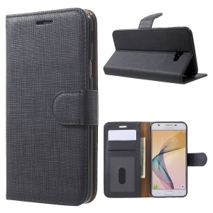 Cloth Texture Wallet Leather Flip Case for Samsung Galaxy On5 2016 / J5 Prime - Black