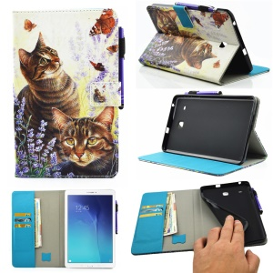 Patterned Wallet Leather Stand Case for Samsung Galaxy Tab E 8.0 T375 T377 - Butterflies and Cats