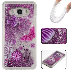 Patterned Glittery TPU Liquid Case for Samsung Galaxy J5 (2016) SM-J510 - Purple / Flowers and Butterfly