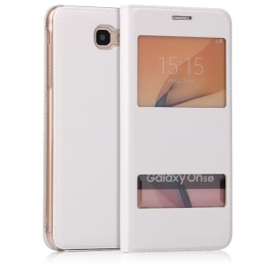 Dual Window PU Leather Flip Case for Samsung Galaxy On5 2016/J5 Prime - White