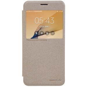 NILLKIN Sparkle View Window Leather Phone Cover for Samsung Galaxy On5 2016/J5 Prime - Gold