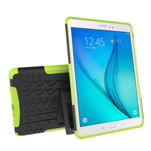 Tire Pattern PC + TPU Kickstand Tablet Cover for Samsung Galaxy Tab A 9.7 T550 T555 - Green