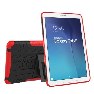 Tire Pattern Combo PC + TPU Kickstand Case for Samsung Galaxy Tab E 9.6 T560 - Red