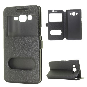 Dual View Window Silk Texture Leather Case for Samsung Galaxy J2 Prime - Black
