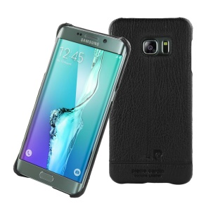 PIERRE CARDIN Genuine Leather Coated PC Phone Case for Samsung Galaxy S6 edge G925 PCL-P03 - Black