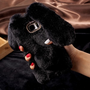 Fashion Rabbit Shaped Rhinestone Fluffy Fur Soft TPU Case for Samsung Galaxy S7 Edge G935 - Black