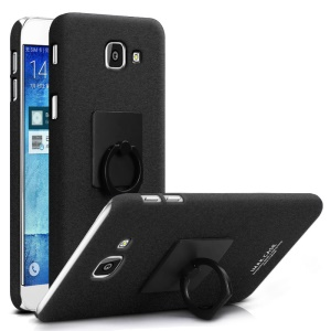 IMAK Matte PC Cell Phone Case with Finger Ring Kickstand for Samsung Galaxy A8 (2016) - Black